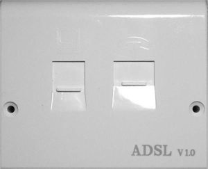 An ADSL Faceplate with built in microfilter.