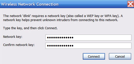 Entering WPA key - Windows