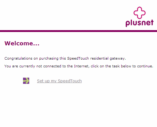 The Thomson Gateway Welcome Page, click Setup My SpeedTouch.