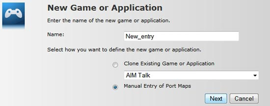 Give your new rule a name and tick Manual Entry of Port Maps