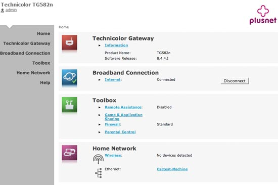 You'll see your router homepage (pictured). The settings and features are shown on the left menu along with two extra categories. Home will bring you back to this page and Help contains detailed information about the settings and features that are available.