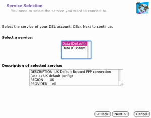 Choose Plusnet from the Service list and click Next.