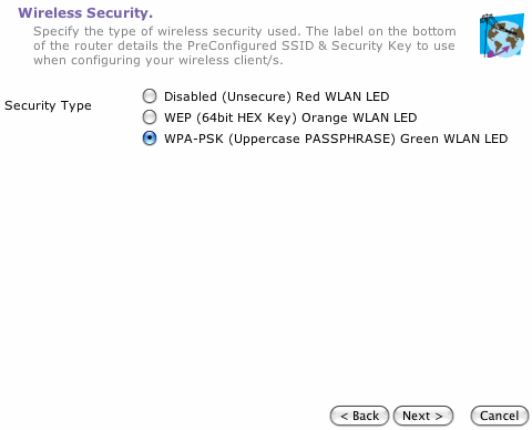 Choose your Wireless Security level, it's best to leave this as WPA-PSK.