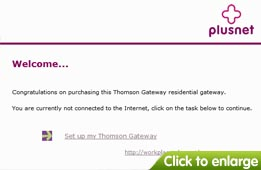 The Thomson Gateway Welcome Page, click Setup My Thomson Gateway.