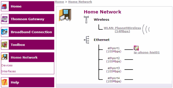 Home Network: Click on WLAN: PlusnetWireless
