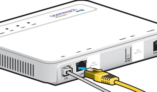 Connect the Ethernet cable (yellow ends) to LAN 1 on the modem.