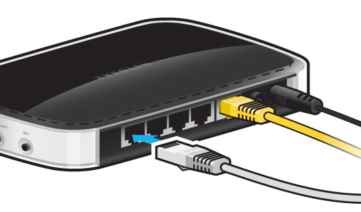 Plug an Ethernet cable into one of the 4 Ethernet sockets on the back of your router.