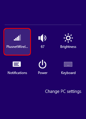 The wireless icon in the 'Settings' charm menu shows the details of your current connection.