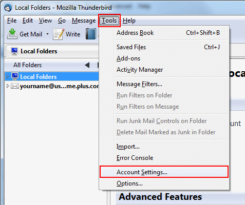 In Thunderbird, go to Tools on the top bar and click Account Settings...