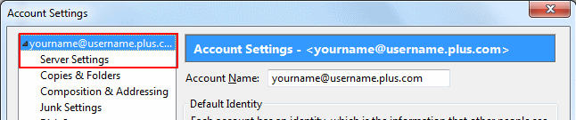 On the left hand side of the Account Settings window, you'll see a list of the email addresses you have set up with separate sections underneath each.