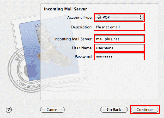 Fill in the Incoming Mail Server details.