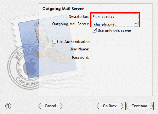 Fill in the Outgoing Mail Server details and click Continue.