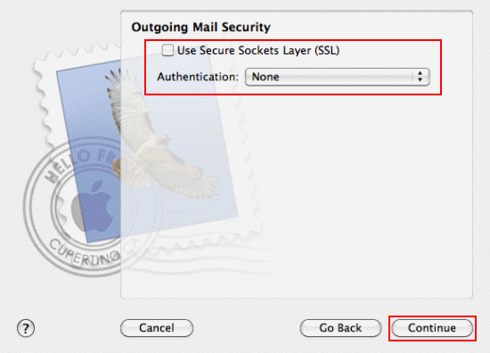 Fill in the Outgoing Mail Security details and click Continue.