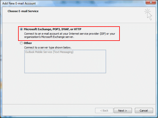Select Microsoft Exchange, POP3, IMAP or HTTP and click Next.