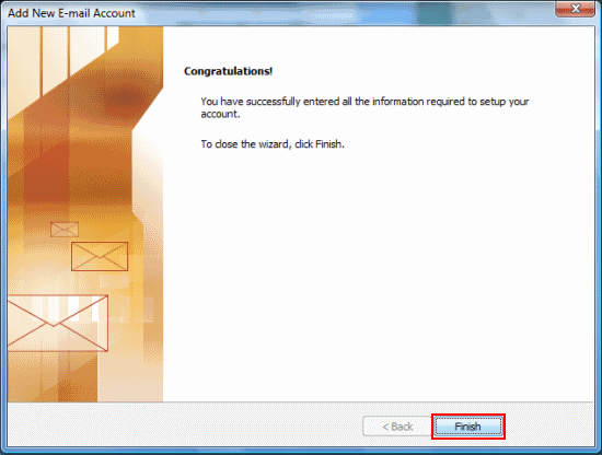 There are no more settings to enter so click Finish.