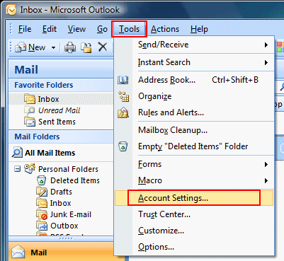 Go to Tools on the top bar and select Email Accounts.
