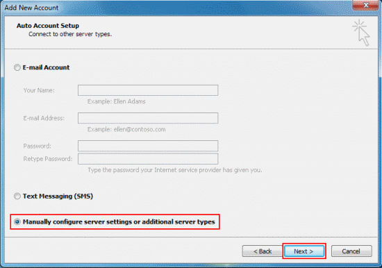Select Manually configure server settings or additional server types and click Next.