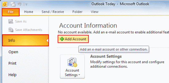 Click the File tab, make sure Info is selected from the left menu and click Add Account.