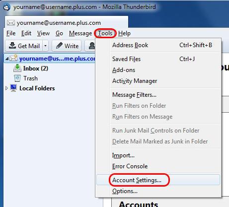 Click Tools on the top bar and select Account Settings.
