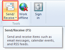 Click the Send/Receive button (it's at the top left side of the Outlook 2010 window as shown in the image below) and your email will be downloaded to your Inbox.