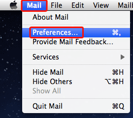On the Mac Mail menu bar, go to the Mail and select Preferences...