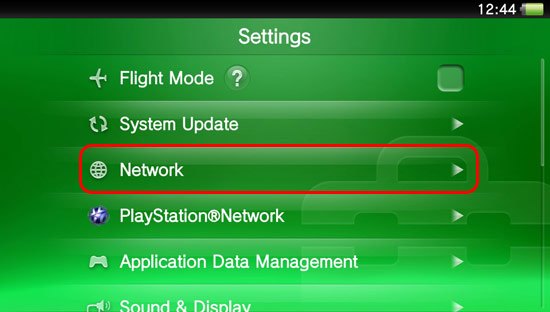 From the Settings menu, select Network.