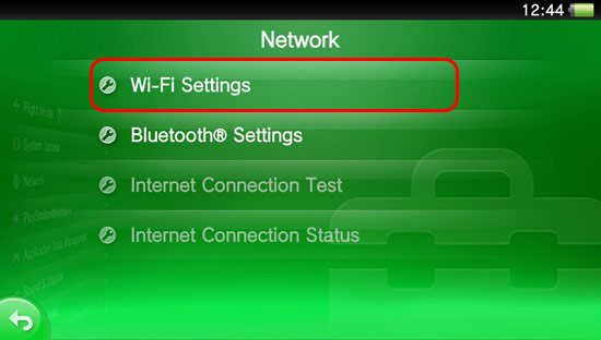 From the Network Menu choose Wi-Fi Settings.