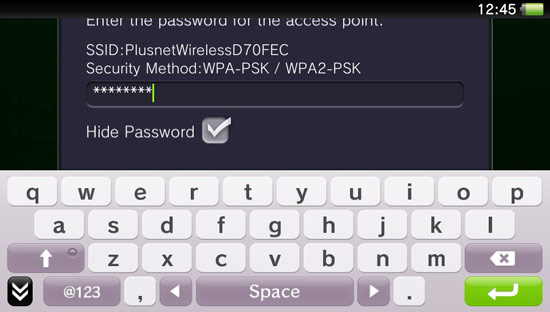 Enter your wireless network password. When you've finished, press the green return key, followed by OK.