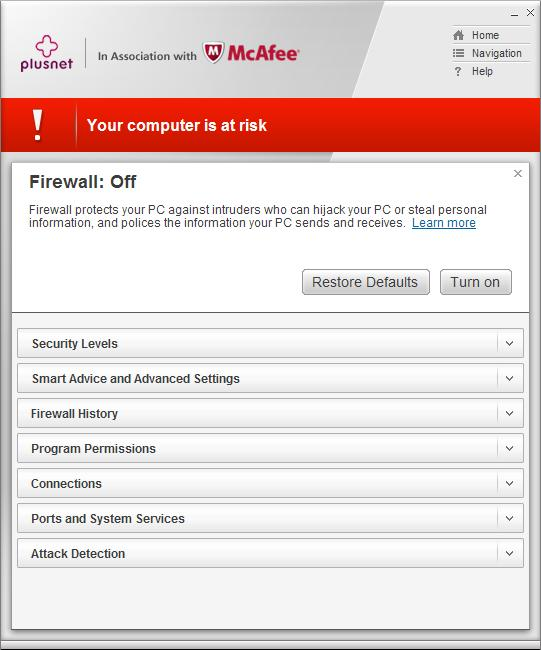 McAfee Firewall turned off