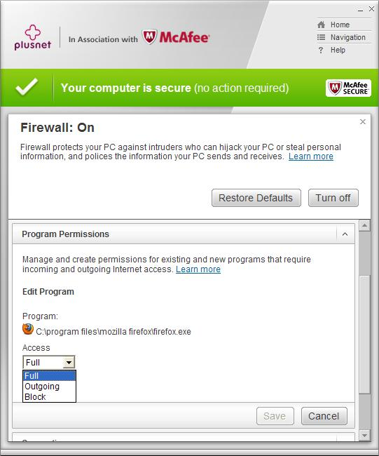 McAfee Firewall permissions continued