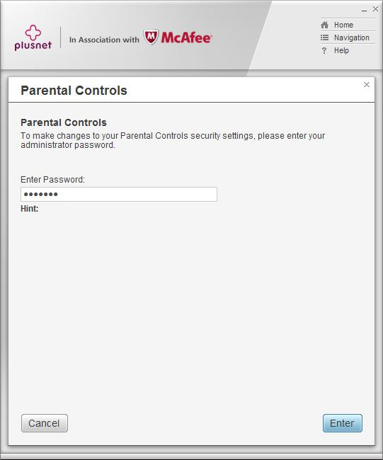 Parental Controls admin password