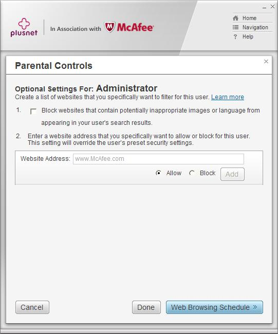 Parental Controls optional settings continued
