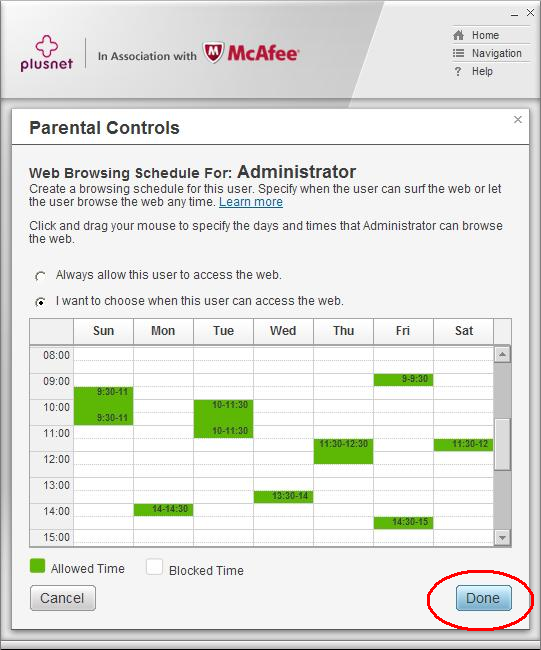 Parental Controls web browsing schedule link continued