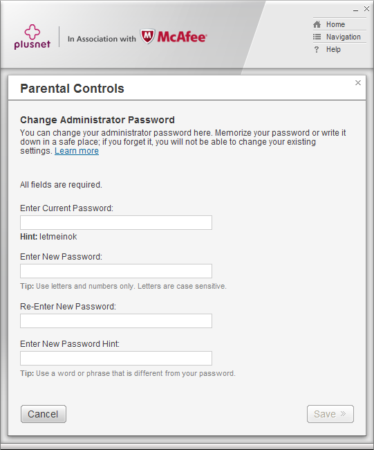 Parental Controls change password detail