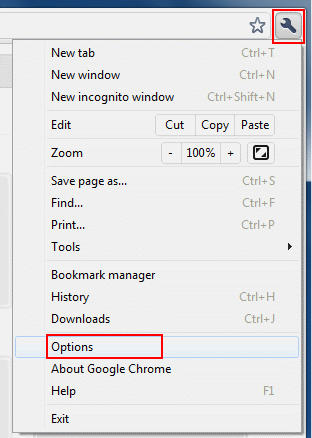 Open Google Chrome. Click the Spanner and select Options from the menu.