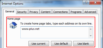 Enter the homepage address you want to use and click OK.