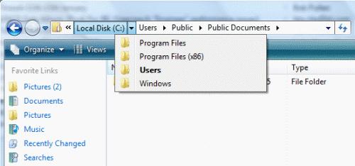 Windows 7 - My Computer Breadcrumbs