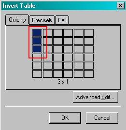 Create a single column, three row table