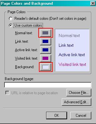 Choose your page colours