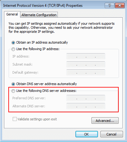 Windows 7 - Use the following DNS server addresses